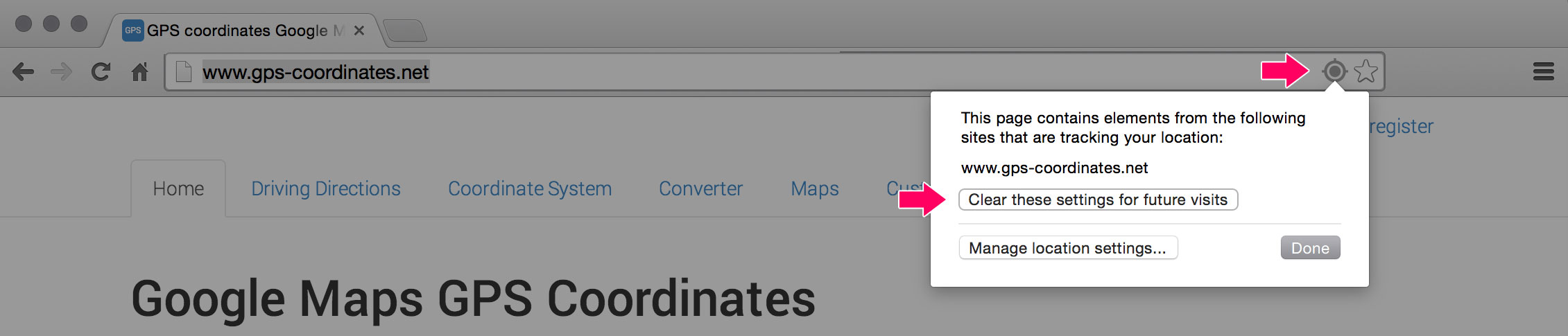 Chrome manage location settings