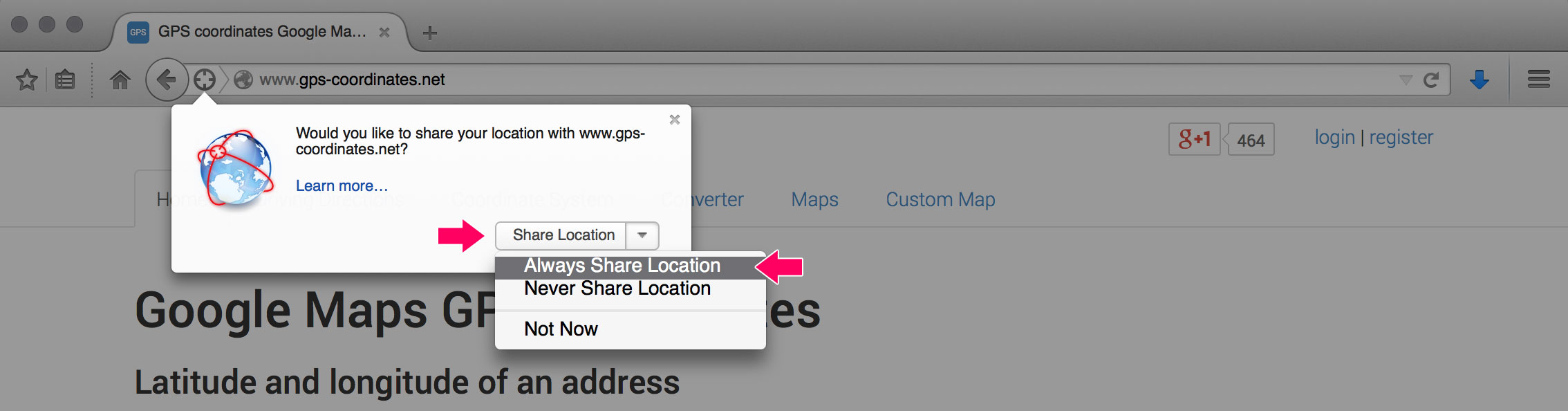 Firefox always share location