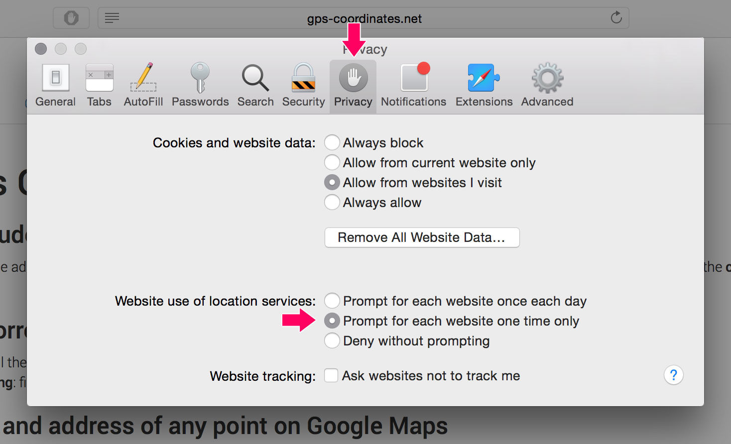 Safari allow website use of location services