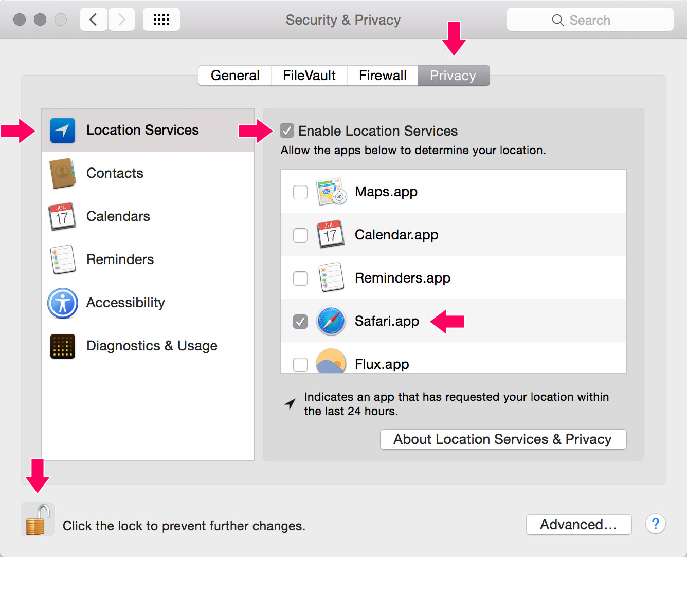Safari enable location services